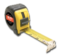 Tape measure for measureing gutter covers